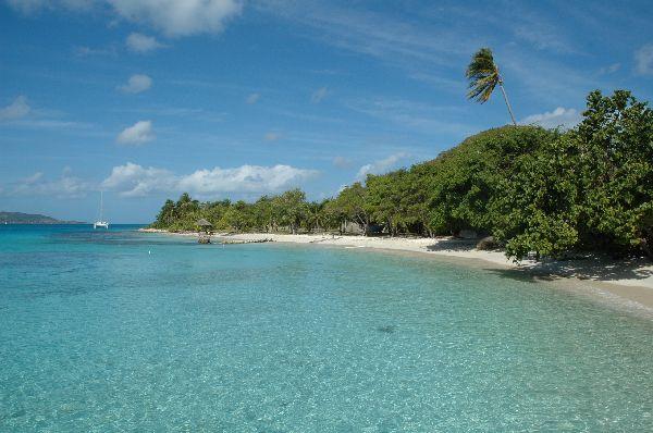Vista del fondeadero en Petit St Vincent, pequeña isla-hotel al sur del archipielago de Grenadinas.