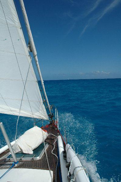 Veloz ceñida en el Caribe, con foque yankee. La trinqueta va preparada en su saco por si el alisio arrecia.